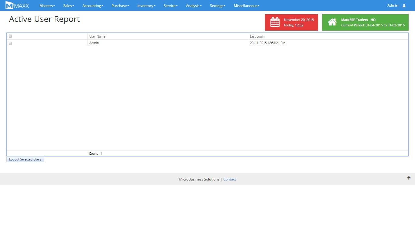 active user report