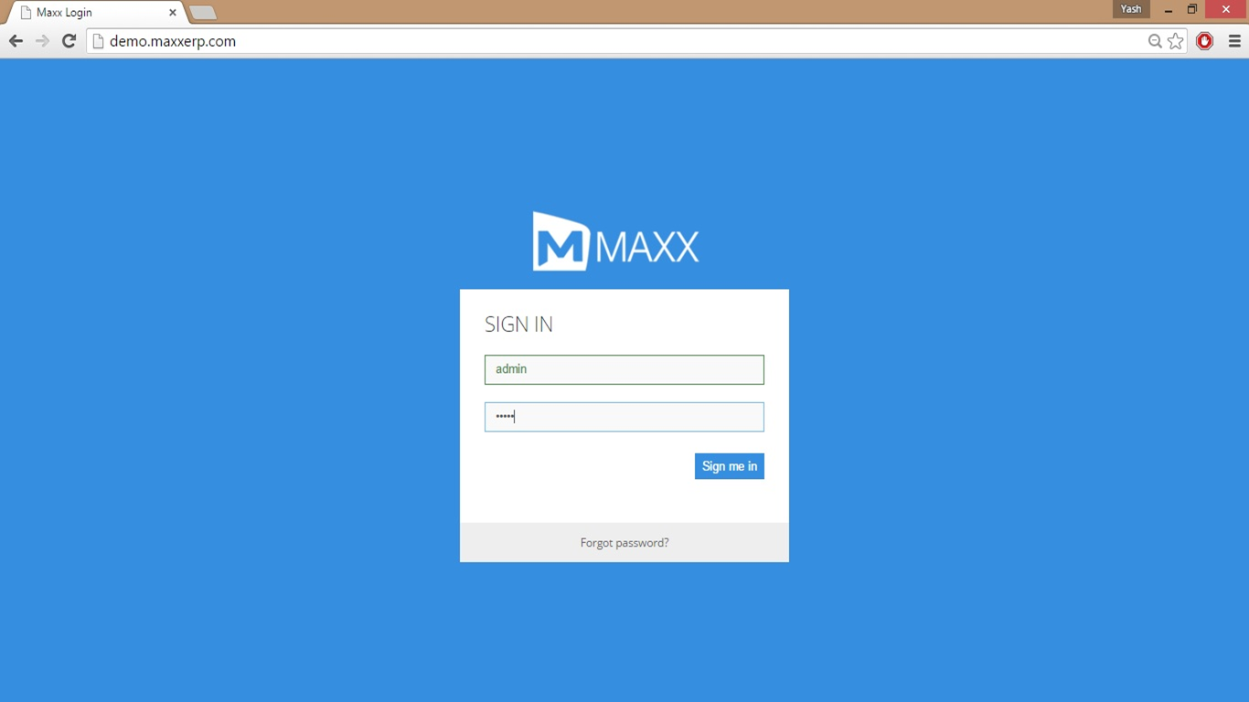 login screen -MaxxERP